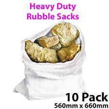 10 Pack 560mm x 660mm Heavy Duty Rubble Sacks - Bricks, Sand, Gravel
