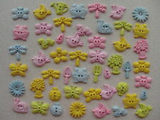 Flower ladybird butterfly + other pastel garden themed mixed buttons 50 grams