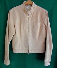 Gorgeous WINDSOR UK12 14 Beige Soft REAL SUEDE LEATHER Lined Fitted Biker Jacket