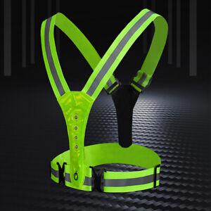 LED Reflective Vest High Visibility Warning Lights Elastic Safety Vest Night GOO