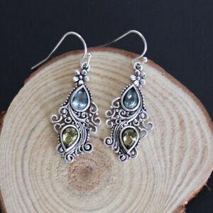 Women Retro 925 Silvering Earrings Hook Dangle Gemstone Earrings Jewelry Gift