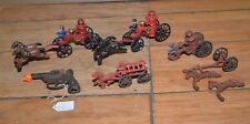 Cast iron toy lot fire wagon horses antique cap gun collectible firefighting lot