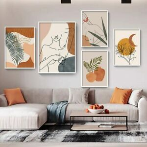 Abstract Art Canvas Painting Woman Posters  Prints Plant Vintage Wall Pictures