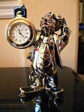 New in Box Leonardo Argenti Silver Clown Italy Hand Painted Livio Working Clock