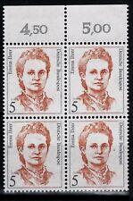 BRD Frauen Mi. - Nr. 1405 Viererblock mit Oberrand postfrisch