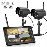 """New Wireless 4CH Quad DVR 2 Cameras with 7"""" TFT LCD Monitor Home Security System"""