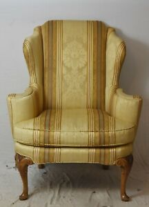 Baker Historic Charleston Collection Chippendale Wing Chair Arm Chair Damask