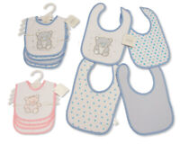 Baby Cotton Bibs 4-Pack - Teddy - Pink Blue Boys Girls - 748/749