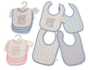 Baby Cotton Bibs 4-Pack - Teddy - Pink Blue Boys Girls - 748/749