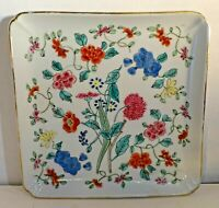 """BBD60 SQUARE HAND PAINTED PORCELAIN TRANSFER PLATE origin unknown, 7"""""""