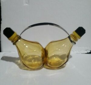 Unique Conjoined Amber Glass Oil and Vinegar Cruet Set - Vintage ?