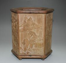 Rare Chinese Bamboo Carved Person Landscape scenery (brush pot) Figure L 14.5 CM