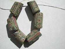 Antique Venetian Millefiori Trade Bead, Black/unusual pattern - 15-17x10.5mm - 6