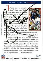 Lawrence Taylor certified autographed signed autograph Giants 1992 Pro Line card