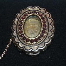 Antique Victorian Locks of Hair Mourning Brooch Estate Pin with Garnets