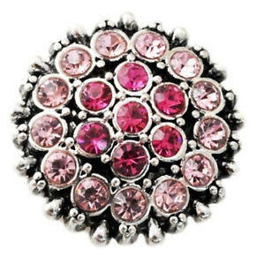 Pink Rhinestones 20mm Snap Charm Interchangeable For Ginger Snaps Magnolia Vine