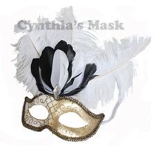 White Venetian Masquerade Mask w/Ostrich Feather 6E6A  Mardi Gras Costume Party