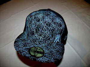 New York Yankees Black Hat w/ Light Blue Logo/Design New Era 59Fifty 7 3/4 WOOL