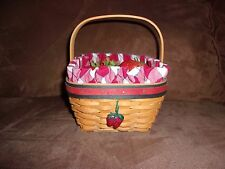 Longaberger 2001 All American Strawberry Basket Set with Tie-On & Strawberries