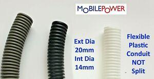 20mm Black, White or Grey flexible plastic conduit by the metre NOT split