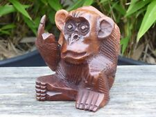 Wooden Hand Carved Sitting Cheeky Rude Monkey.....