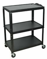 Luxor AVJ42XL A/V Cart, Extra Wide, Adjustable Height, Steel