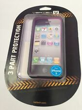 Naztech Vertex Dual Layer Hybrid Pink Gray Case & LCD Protector For iPhone 5 5S