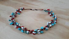 Handmade Turquoise Red Coral White Howlite Chip Cluster Necklace