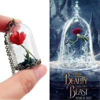 Beauty And The Beast Necklace Pendant Wish Rose Dried Flower Glass Bottle EL