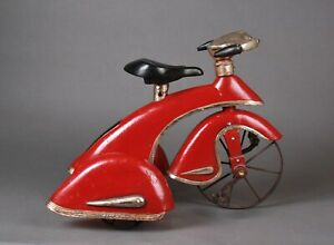 VINTAGE RED SKY KING STYLE TOY TRICYCLE W/ ART DECO MOTOCYCLE/ AUTOMOBILE FENDER