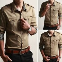 Men Cargo Shirt Military T-shirt Dress Shirt Pocket Button Down Cotton Tops Slim