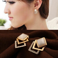New Fashion Ear Stud Hollow Crystal Jewelry Gold Plated Earrings 1 Pair Women