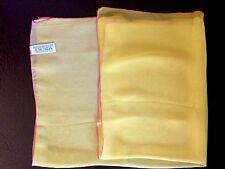 New Summer ESCADA French Silk Scarf MARGARETHA LEY Lemon Yellow & Pink Edges
