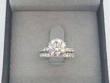 ROUND BAND SET DIAMOND RING 2 CT 14K WHITE GOLD ESTATE 6 PRONG NATURAL VS1