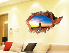 3D Paris tower scenery Home Room Decor Removable Wall Stickers Decal Decorations