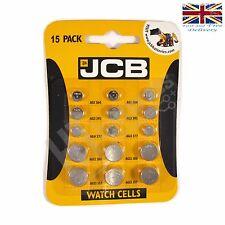 JCB Watch Batteries 15 Mixed Pack 3 each AG1 364 AG3 392 AG4 377 G12 386 G13 357