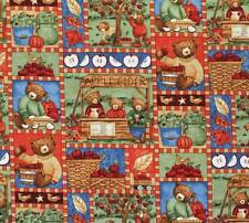 """Apple Cider Bears"" by Teresa Kogut SSl Premium Cotton Fabric BTFQ"