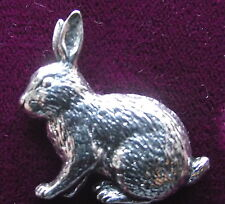 Easter Pewter Sitting Bunny Rabbit Brooch Pin