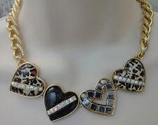 Betsey Johnson Goldtone Leopard Print Multi Heart Necklace NWT