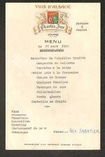 """COLMAR (68) VINS D'ALSACE """"Charles JUX""""  /  MENU en 1958"""