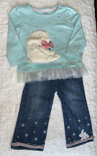 Gymboree Two Piece Outfit Jeans Shirt Applique Embroidered Size 6-12 Months VGUC