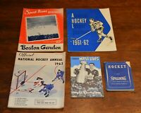 5-LOT 1950s 1960s Maple Leafs, BRUINS, NHL Program Hockey Annual Vintage books