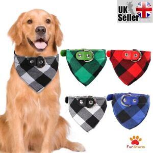 Tartan Dog Bandana Collar Puppy Cat Pet Adjustable Neck Scarf Neckerchief 3Sizes