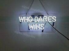 New White Who Dares Win Acrylic Neon Sign 14'' Light Lamp Wall Decor Gift
