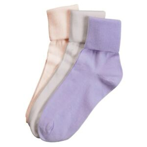 Buster Brown Women's 100% Cotton Socks - 3 Pair Package Fold Over Asst. Colors