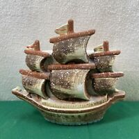 Vtg Mid-Century Pottery Sailboat Nautical Schooner Ship Wall Pocket Planter Vase
