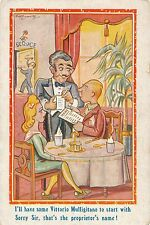 POSTCARD   COMIC    Italian  Restaurant  Related  I'll have  some.....
