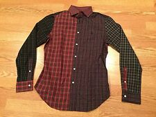 Polo Ralph Lauren rare patchwork shirt Christmas tartan black watch plaid M red