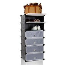 Mobile scarpiera mobiletto armadio modulare con 6 scomparti nero con ricami
