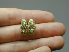 Judith Ripka Sterling Diamonique and Peridot Huggie Hoops Earrings NIB